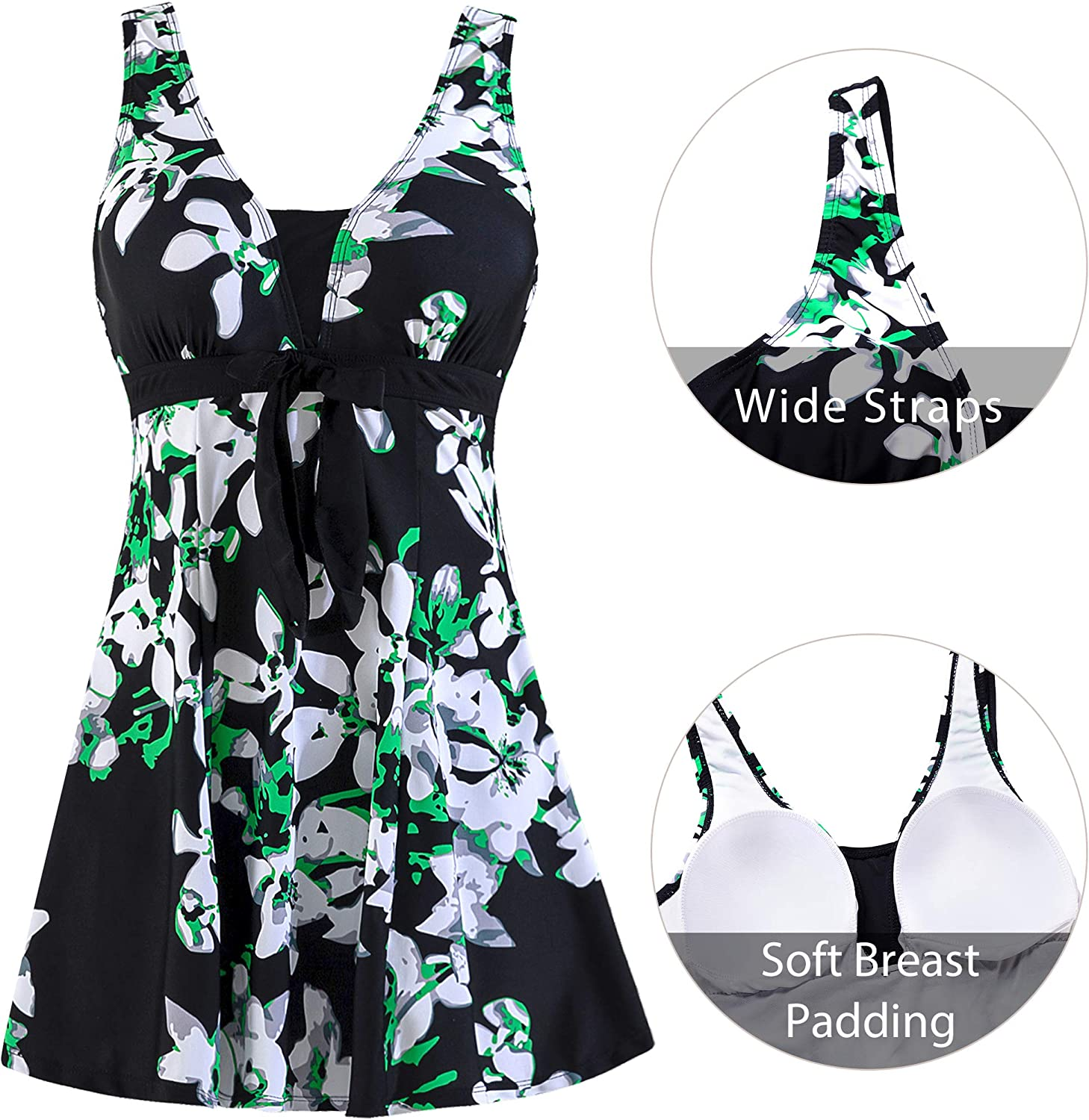 Wantdo Women Swimming Costume One Piece with Skirt Shorts