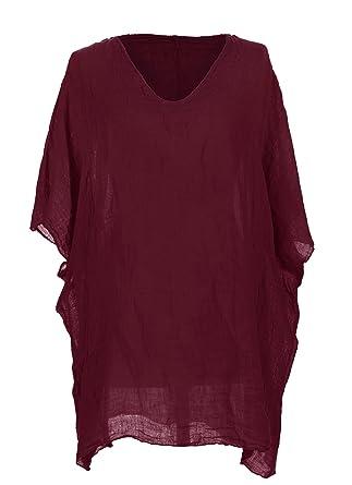 9d21a7996fd TEXTURE Ladies Womens Italian Lagenlook V Neck Batwing Sleeve Linen Short  Kaftan Tunic Top Blouse One