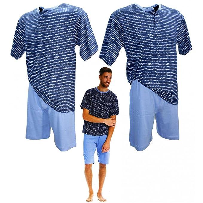 Pijama Hombre Manga Corta Iside Tallas M-L-XL-XXL puro algodón color azul 80440: Amazon.es: Ropa y accesorios