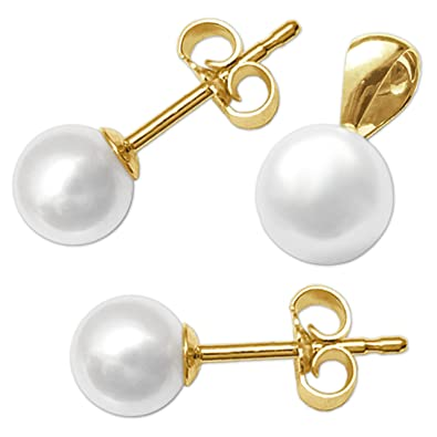f96fa12bced0 Clever joyas dorado colgante pequeñas perlas agua dulce Diámetro 6 mm y un  par de pendientes de perlas Diámetro 5 mm brillante 333 Oro 8 quilates en  ...
