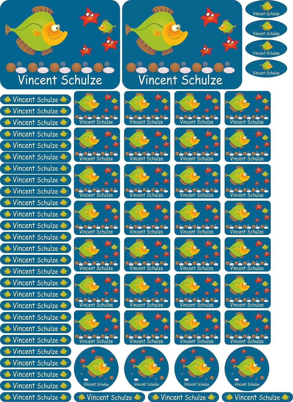 Hefte Kindergarten B/ücher A4-Bogen Stifte Bagger Lineale individueller Aufdruck auch f/ür Erwachsene 69 Aufkleber f/ür Schule 004 Federmappe INDIGOS UG Namensaufkleber//Sticker
