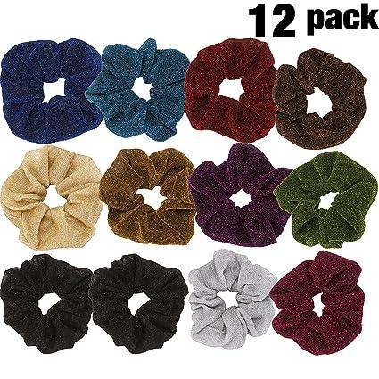 LONEEDY 12 unidades de poliéster brillante seda Scrunchies grande elástico pelo coleta sujetador de pelo para