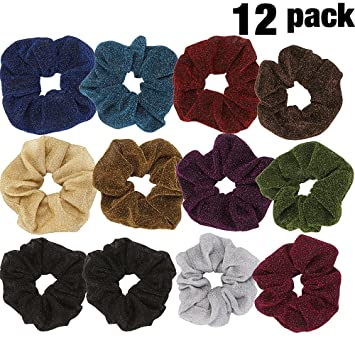 Amazon.com : LONEEDY 12 Pack Polyester Bright Silk Scrunchies Large Elastic Hair Ponytail Holder Hair Ties For Women Girls Thick hair band (A) : Beauty