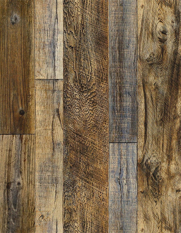 Decormax Shiplap Wood Wallpaper 18inch X 394inch Plank Brown Floor Tile Roll Peel and Stick Self-Adhesive Cabinet Kitchen Backsplash Countertop Shelf Liner