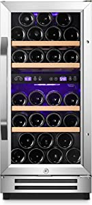 Karcassin 15 inch Wine Cooler Refrigerator –Update Version - Compressor Wine Bottle Chiller – Dual Temp Zones – Stores upto 28 Bottles – Freestanding or Built-in …