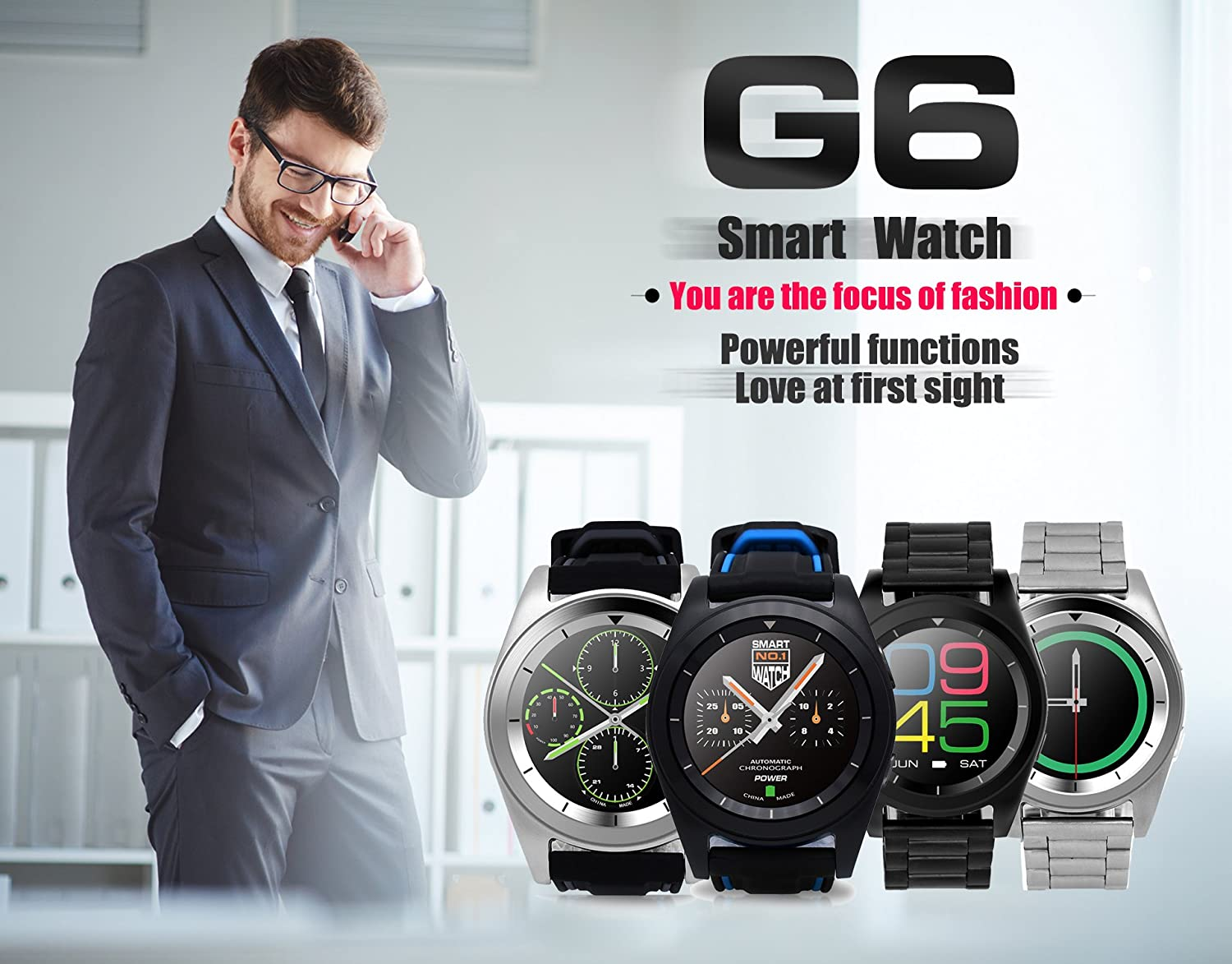 iSTYLE Fashion NO.1 G6 Smart Watch Bluetooth 4.0 Heart Rate Monitor Fitness Tracker Call SMS Reminder Remote Camera for Android IOS Smart phones ...