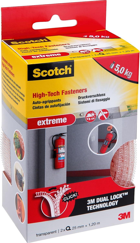 Scotch - 53436 - 2 Bandes de Fixation Auto-Aggripantes Extremes 25mm x 1, 20 m Transparentes 3MITA