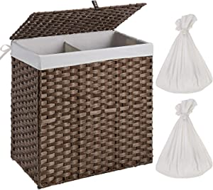 Greenstell Handwoven Laundry Hamper with 2 Removable Liner Bag, Synthetic Rattan Laundry Basket with Lid and Handles, Foldable and Easy to Install Brown (Larger Size)