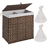 Greenstell Handwoven Laundry Hamper with 2 Removable Liner Bag,Rattan Wicker Laundry Basket with Lid and Handles…