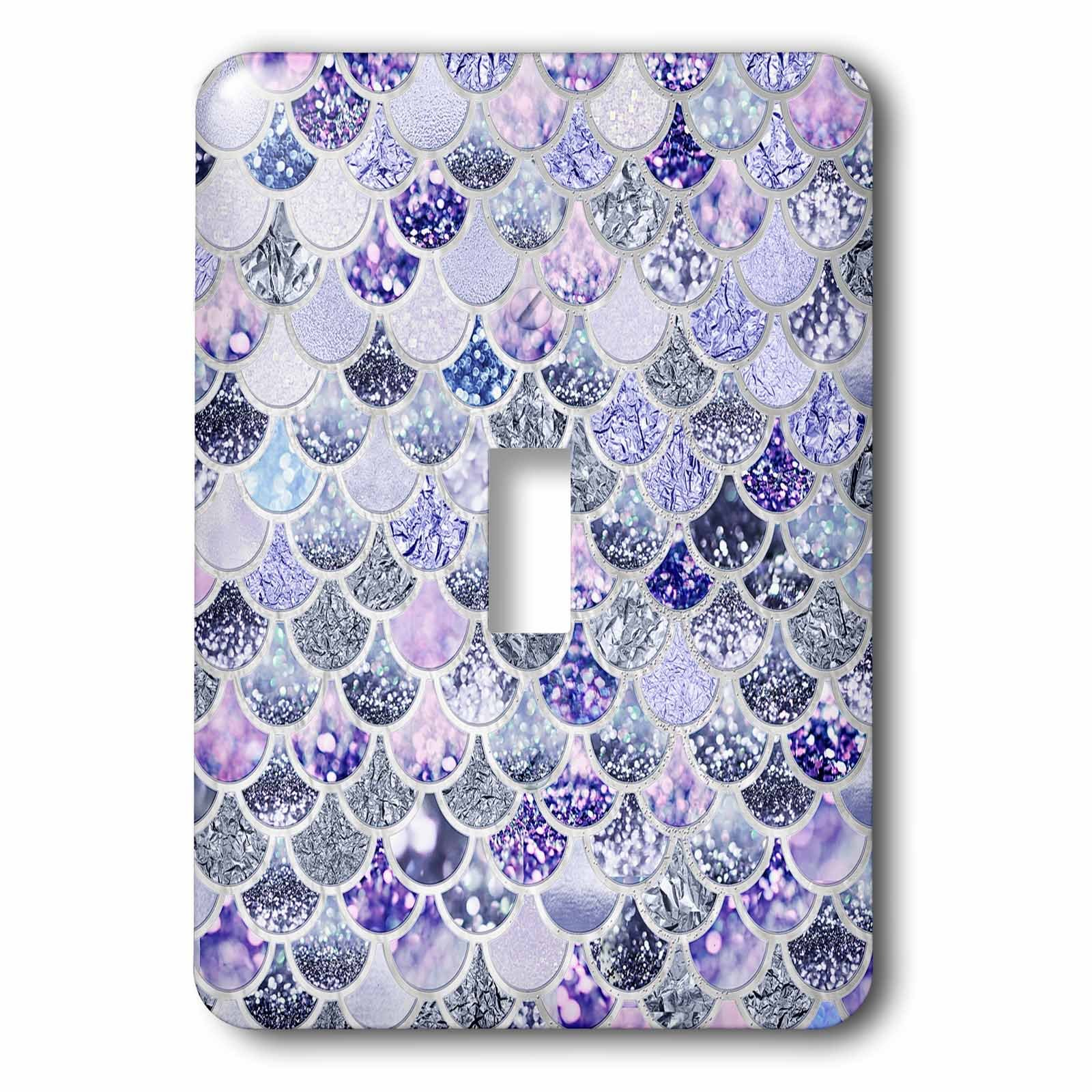 3dRose lsp_275450_1 Image of Purple Silver Shiny Luxury Elegant Mermaid Scales Glitter Toggle Switch, Mixed