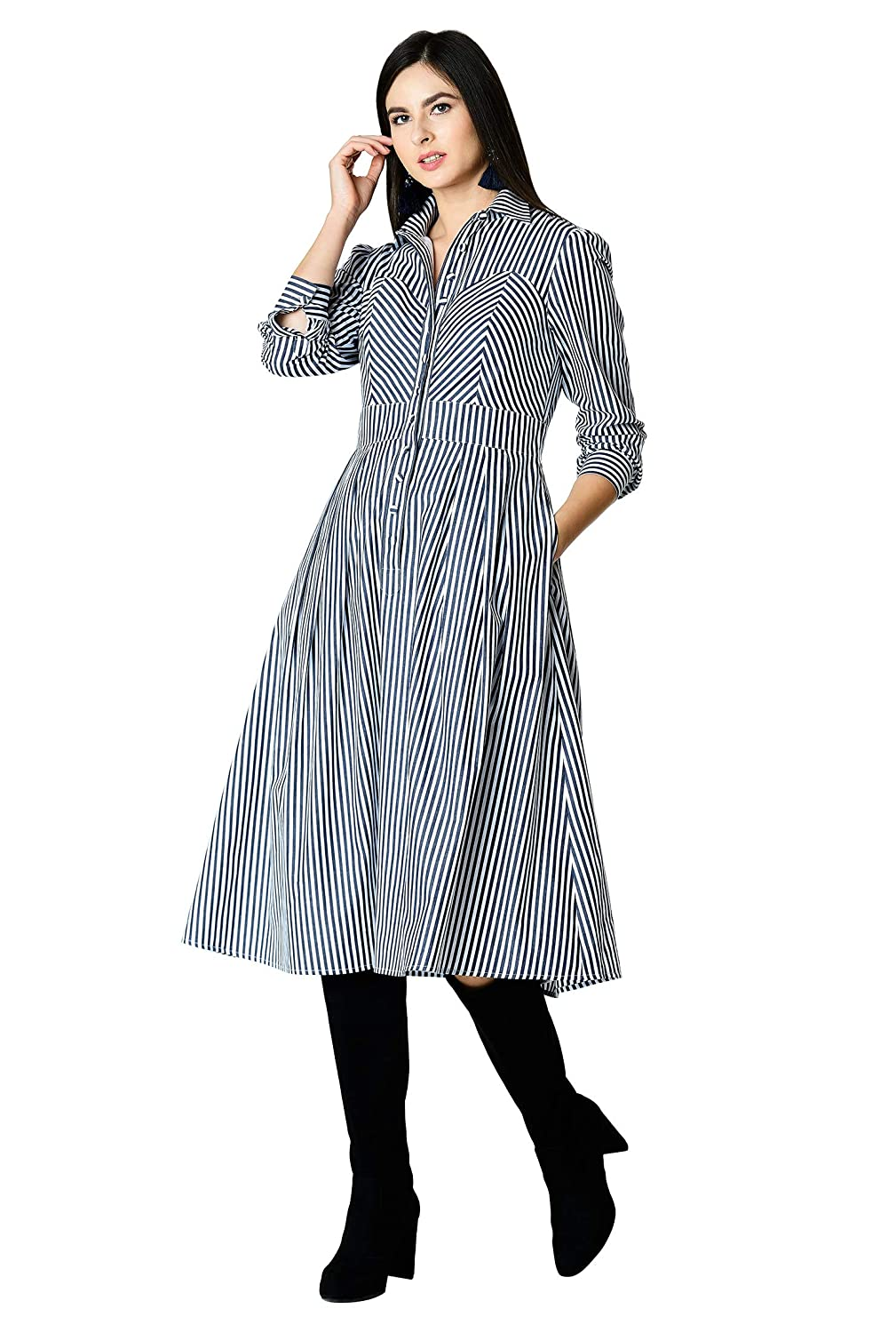 Eshakti Womens Cotton Poplin Stripe Shirtdress At Amazon Womens