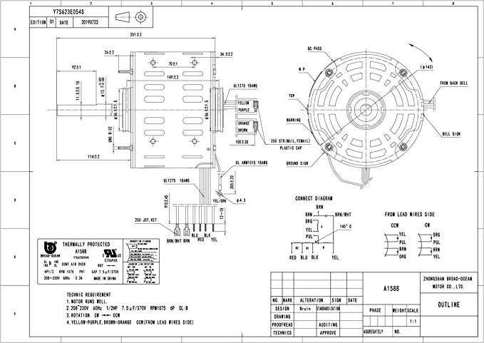 A1590 3//4HP 230V Air Handler Motor,1075RPM 4.5AMP
