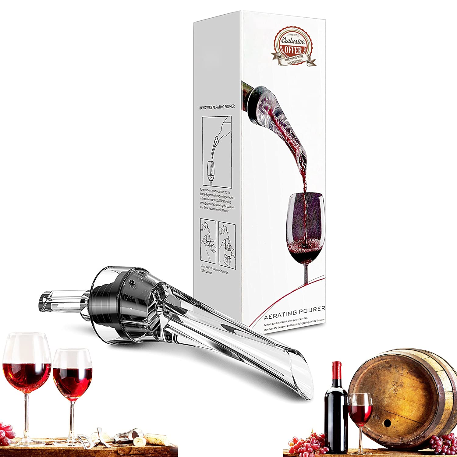 Wine Aerator Pourer, Premium Aerating Pourer and Decanter Spout Kitchwise