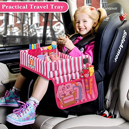 Jojoin Kinder Reisetisch Multifunktion Knietablett Reisetisch Faltbar Und Verstellbar Auto Kindersitz Spieltisch Mit 5 Zeichenpapier Und 6 Farbstifte Pink Gestreifte Auto