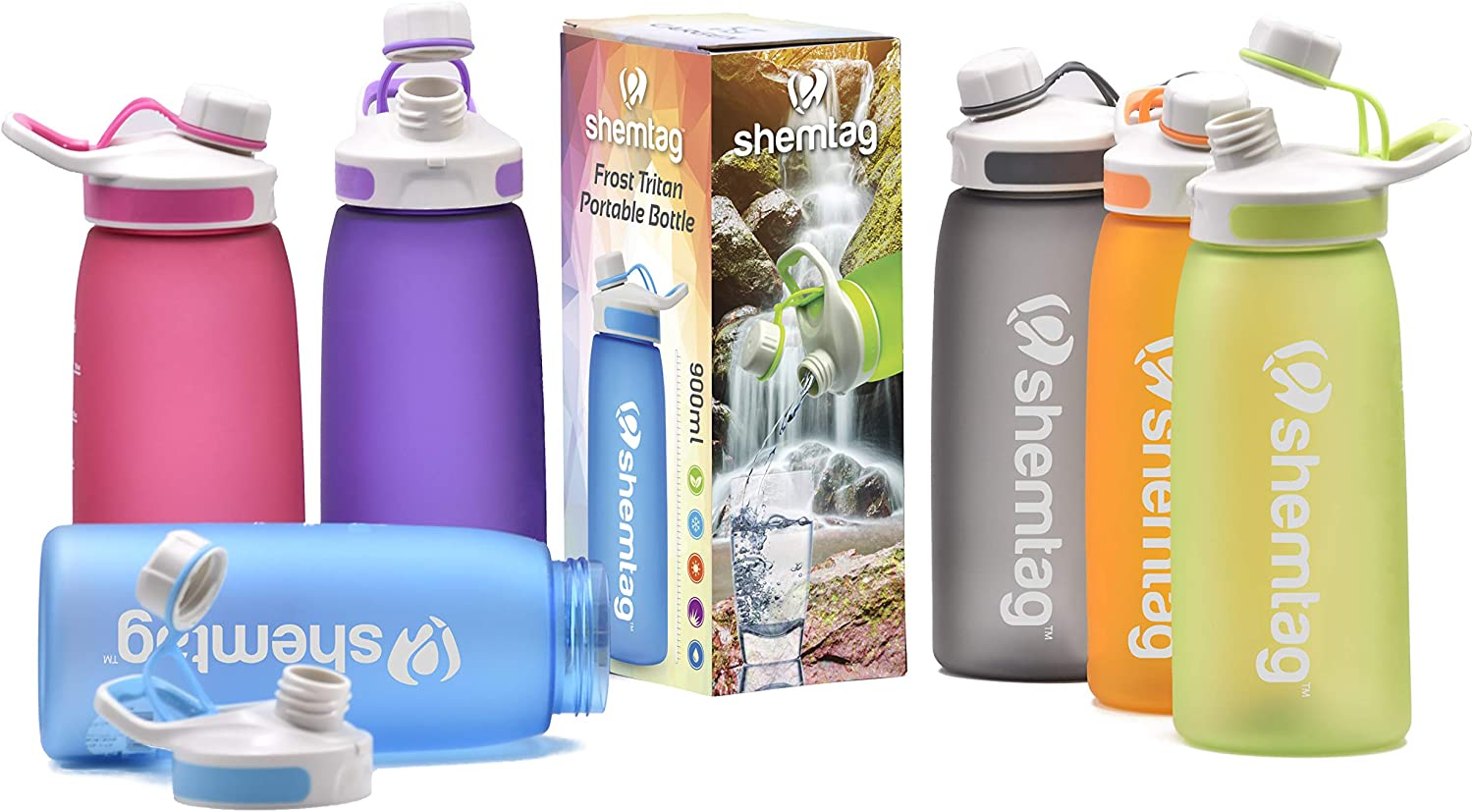 Wth Screw Cap BPA-FREE For Sports /& Camping 900ml Shemtag Color Water Bottle-Tritan Water Bottle 30oz