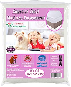 v Superior Extra Heavy 8 Gauge Vinyl Mattress Protector Zippered Encasement Cover 100% Waterproof & Bed-Bug Proof Full