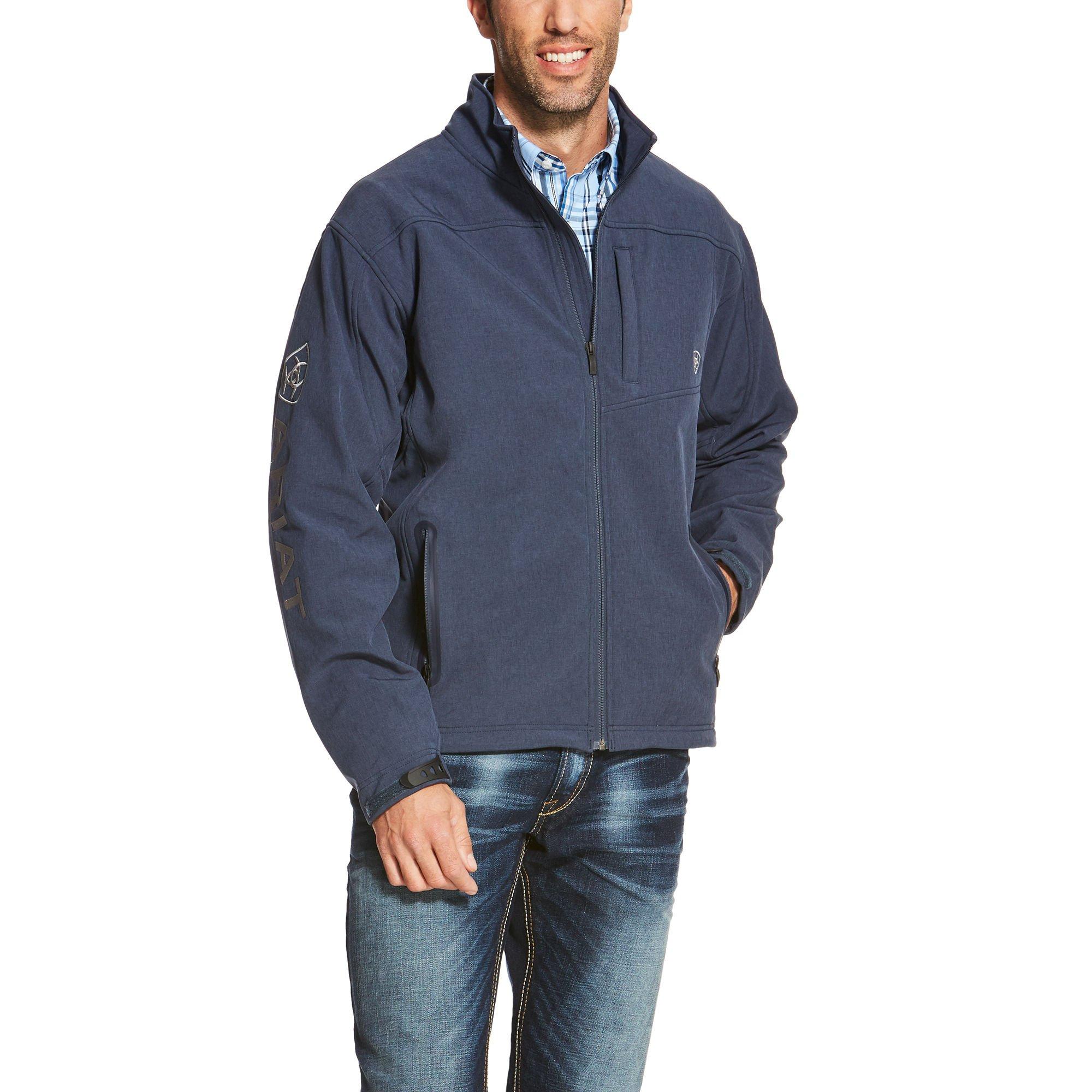 Ariat Men's Logo Softshell Jacket, Indigo, Large