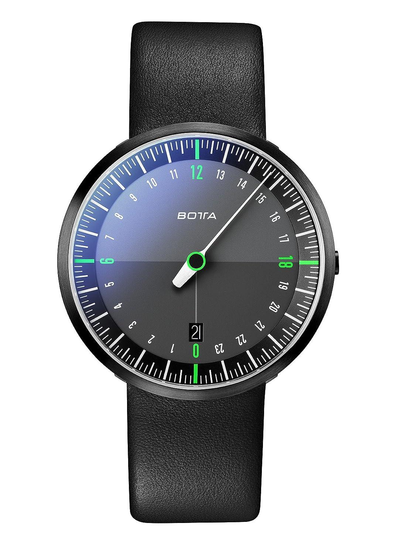 Botta-Design UNO 24 NEO Armbanduhr - Black Edition - 24H Einzeigeruhr - Edelstahl - Saphirglas Antireflex - Lederband