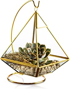 KooK Geometric Pyramid Hanging Terrarium With Stand - Gold