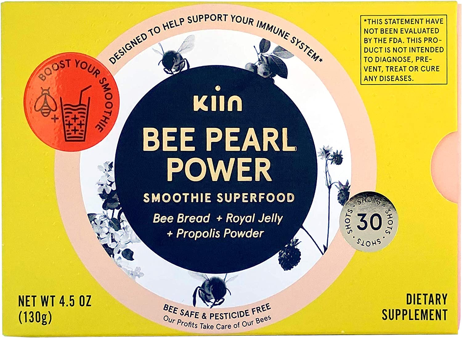 Kiin Bee Pearl Power - 100% Organic Food Supplement with Raw Bread, Royal Jelly, Propolis - Metabolism Booster & Immune Support - High in Vitamins, Minerals, Essential Amino Acids & Antioxidants