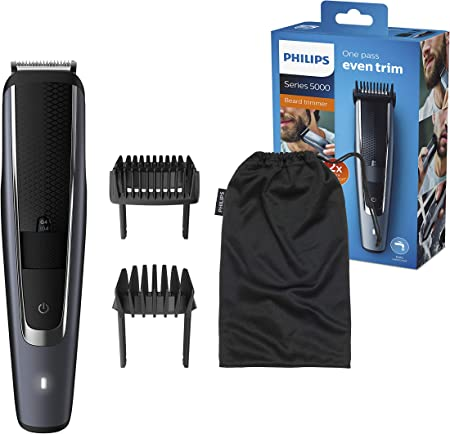 Philips BEARDTRIMMER Series 5000 BT5502/15 cortadora de pelo y maquinilla Negro Recargable - Afeitadora (Negro, 0,4 mm, 2 cm, 90 min, Batería integrada, AC/Batería)