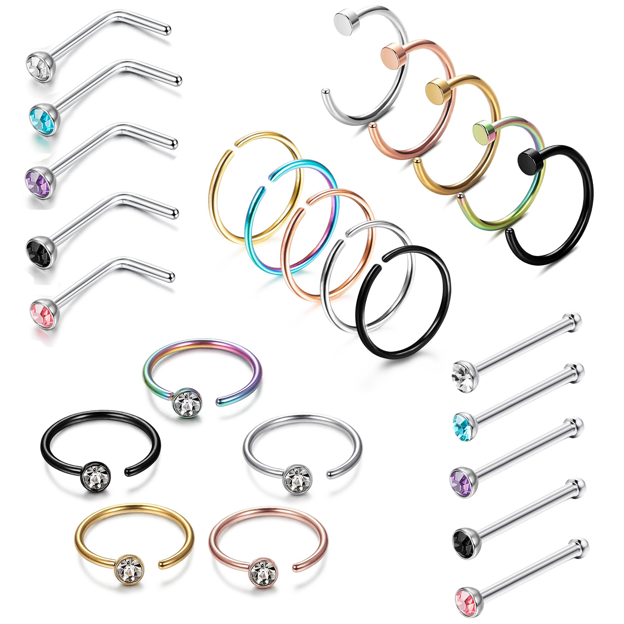 LOYALLOOK 25PCS Stainless Steel Fake Septum Ring Nose Hoop Piercing Clicker Ring Stud Nose Ring CZ Body Jewelry Piercing