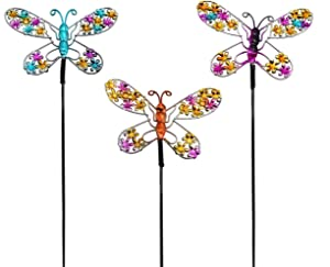 VOTENVO 14 Inch Butterfly Garden Stakes Decor, Metal Butterfly Stakes Indoor & Outdoor Lawn Pathway Patio Ornaments,Set of 3