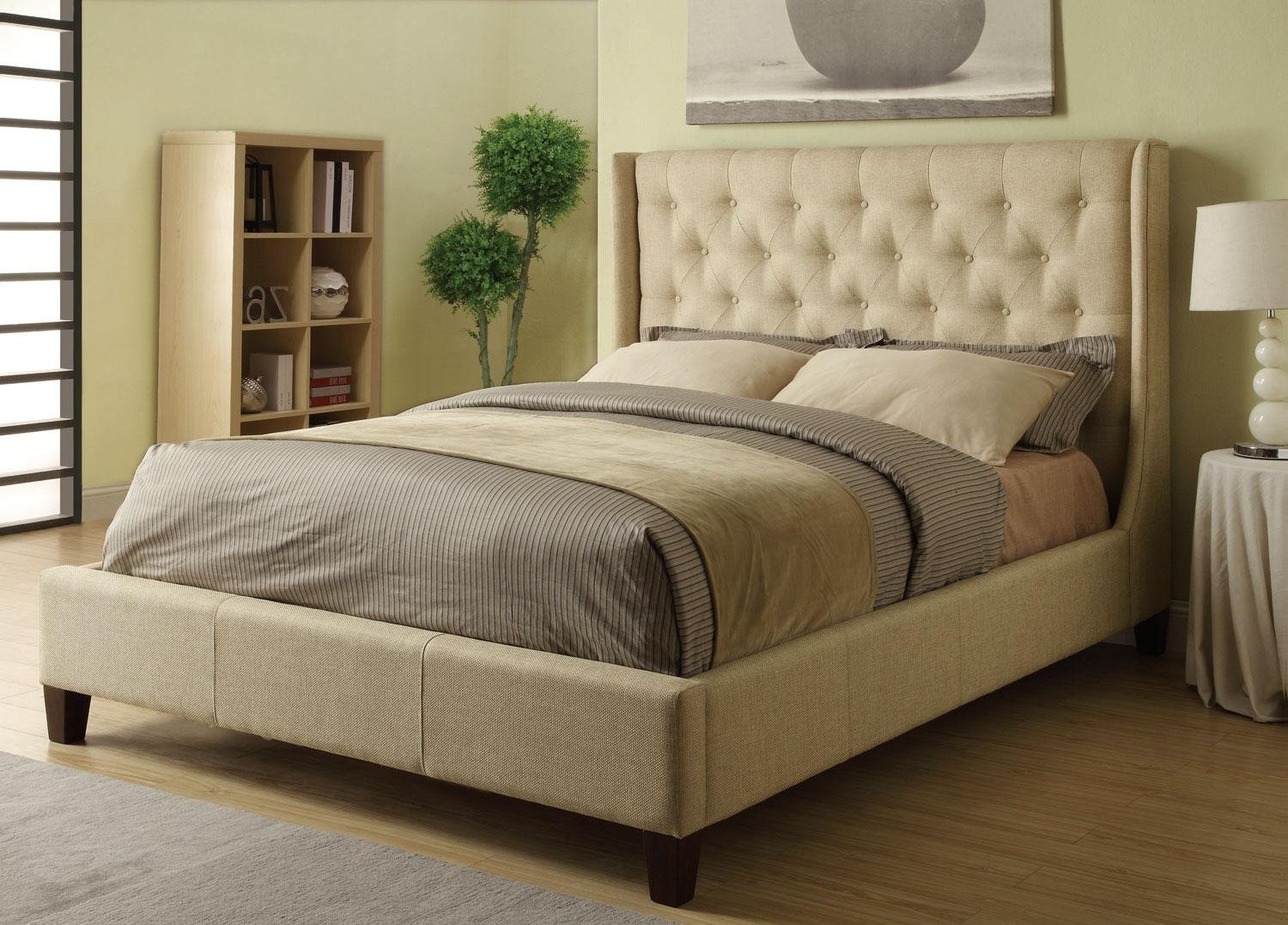 Amazon.com - Coaster Eastern King Bed Headboard-Tan - Bed Frames