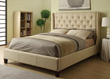 coaster eastern king bed headboard tan