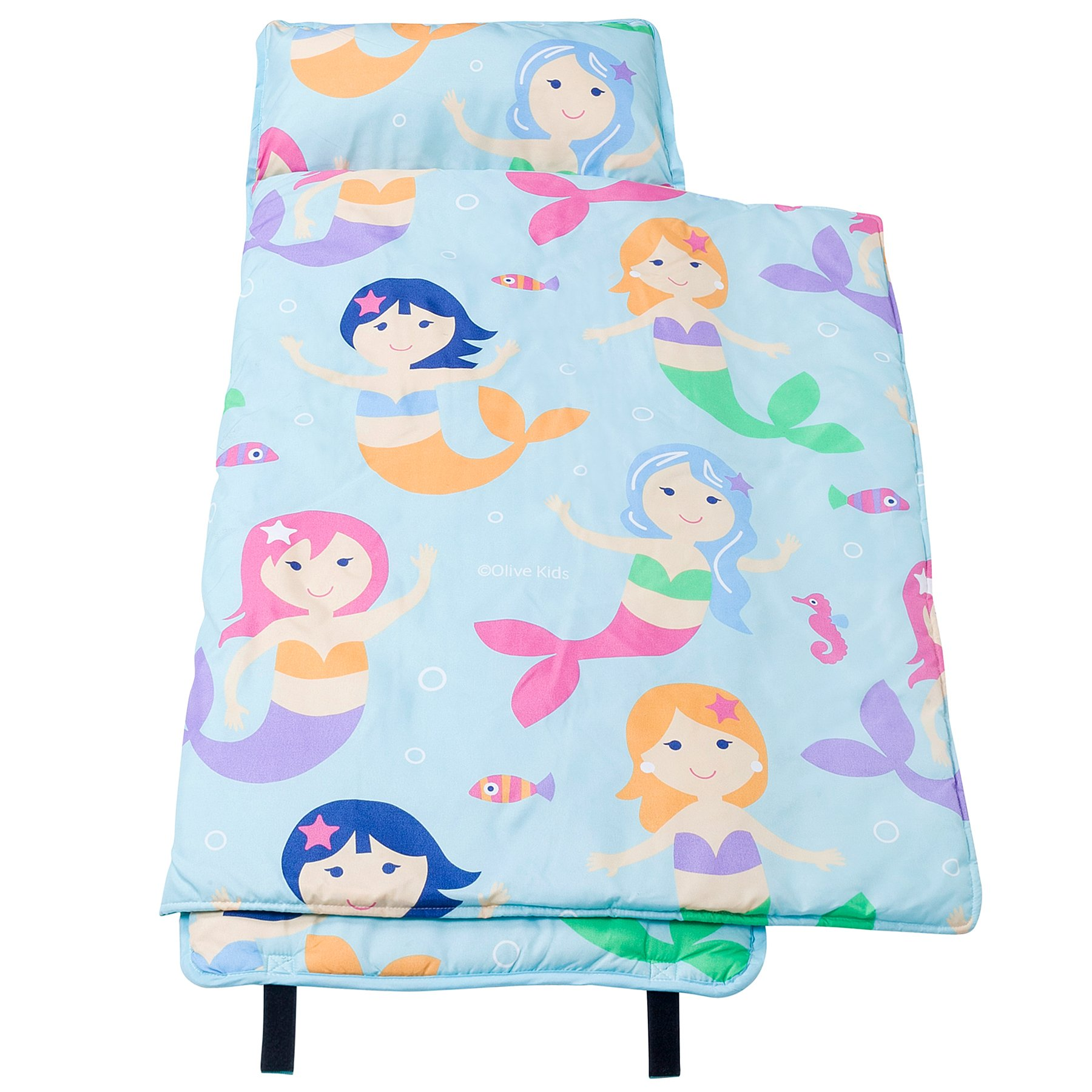 Wildkin Nap Mat Olive Kids by Microfiber Children's Nap Mat with Built in Blanket and Pillowcase, Pillow Insert Included, 100% Microfiber, Children Ages 3-7 years – Mermaids
