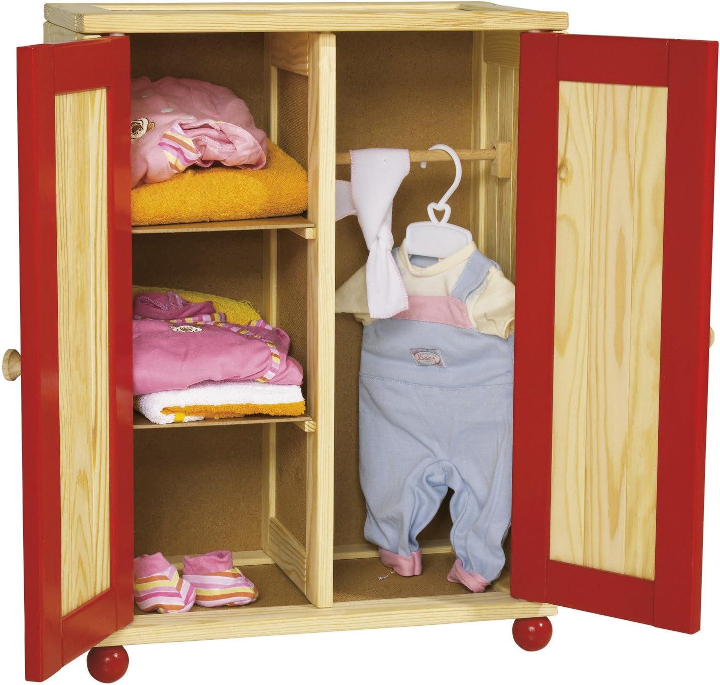 Howa Puppenschrank aus Holz Incl Kleiderb/ügel 2601