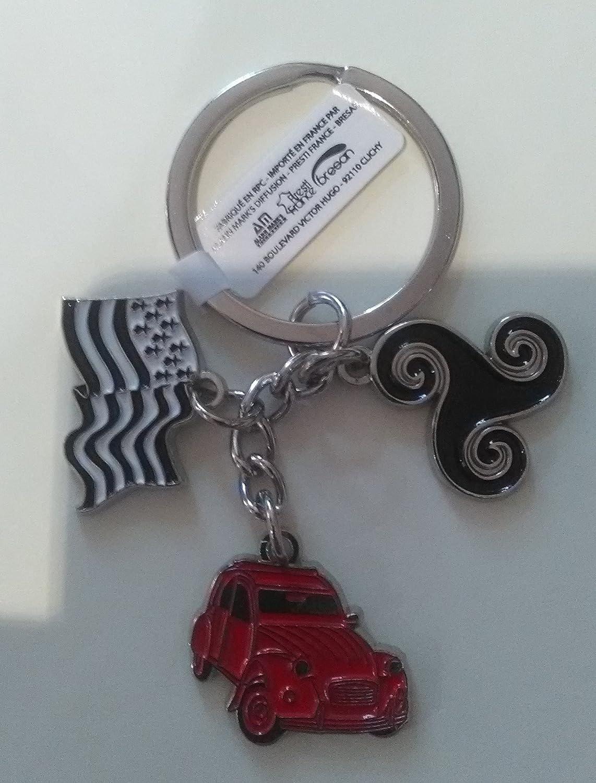 Porte-clefs Bretagne triskel et Drapeau Breton avec Voiture 2cv Rouge