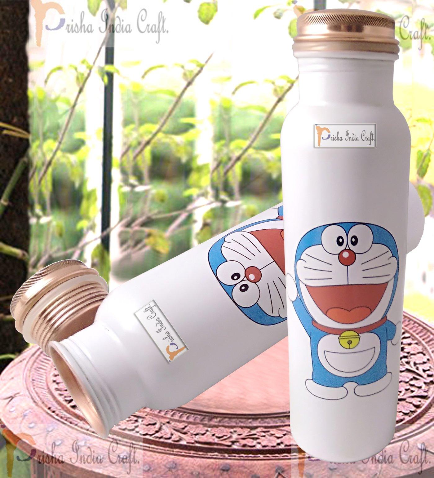 Prisha India Craft Digital Printed Pure Copper Water Bottle Kids School Water Bottle - Doremon Design, 1000 ML  Set of 2