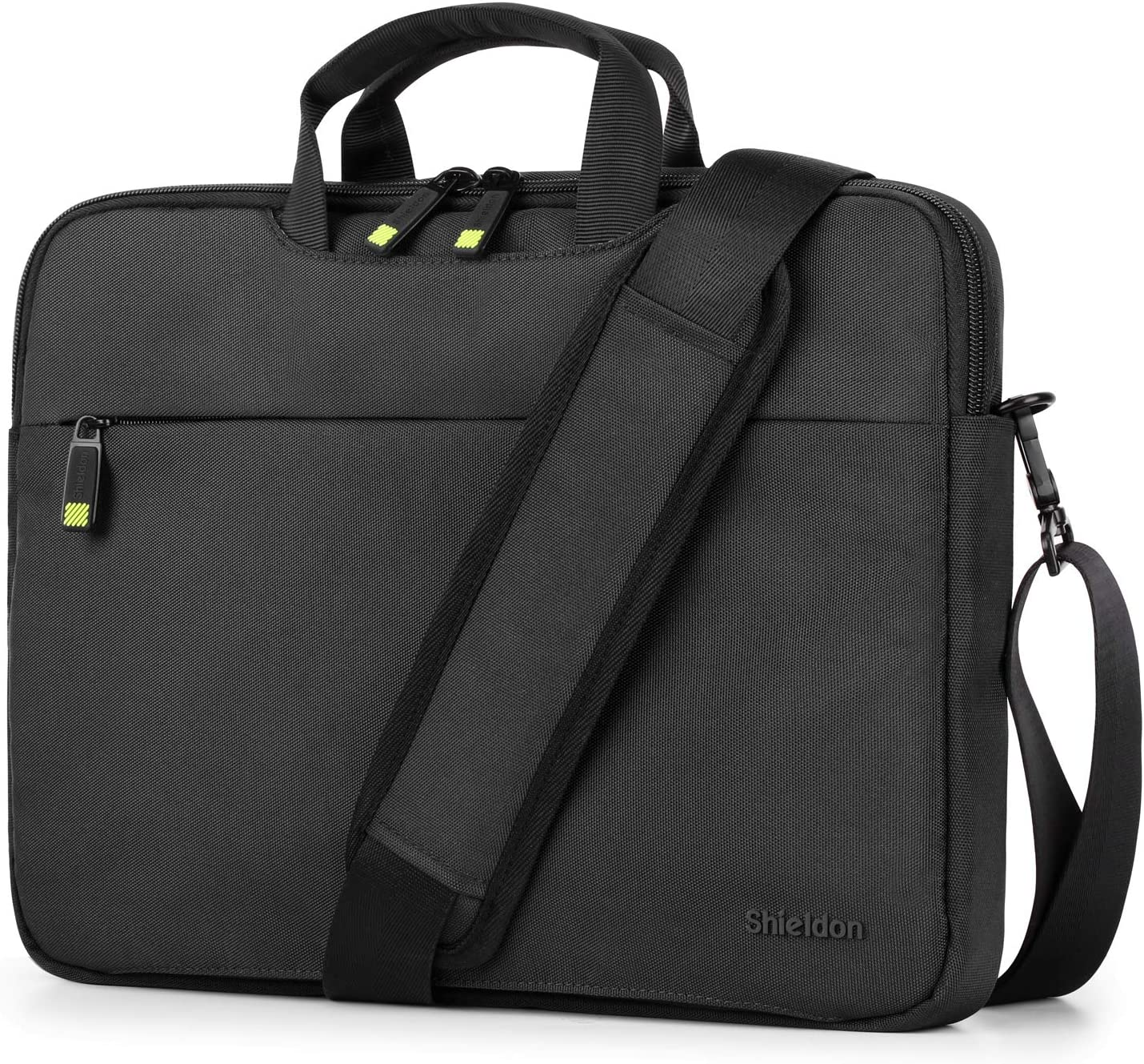 "SHIELDON 14-inch Laptop Sleeve Carry-on Briefcase Computer Protective Bag with Luggage Belt Compatible with 13.3"" MacBook Pro, 13.3"" MacBook Air, 12.9"" iPad Pro, Acer Chromebook Notebook - Black"