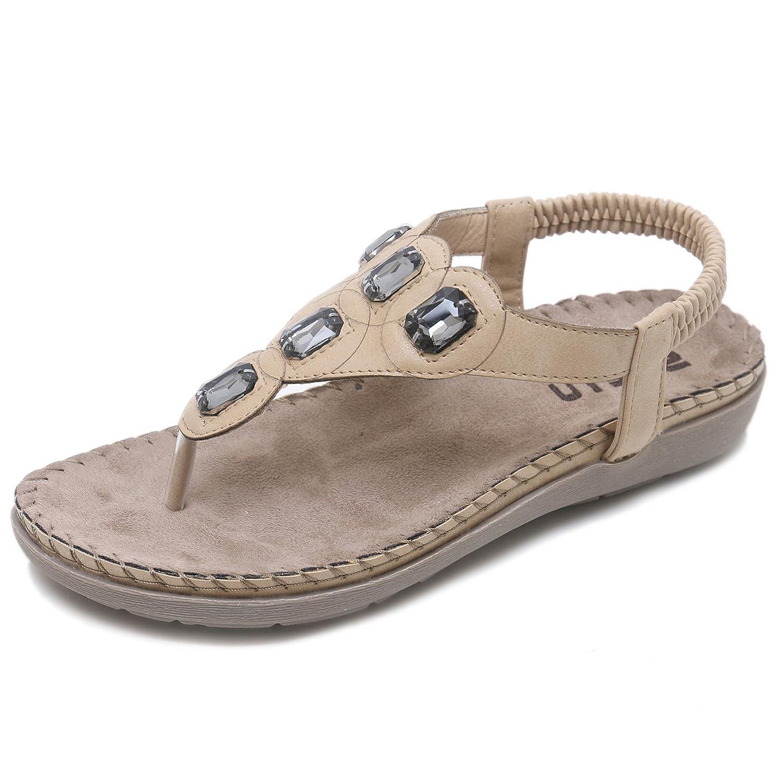 CARETOO Damen Sommer Bohemian Flachen Sandalen Tanga T-Strap Blume Slip auf Flip Flops Schuhe  40 EU|Aprikose-1