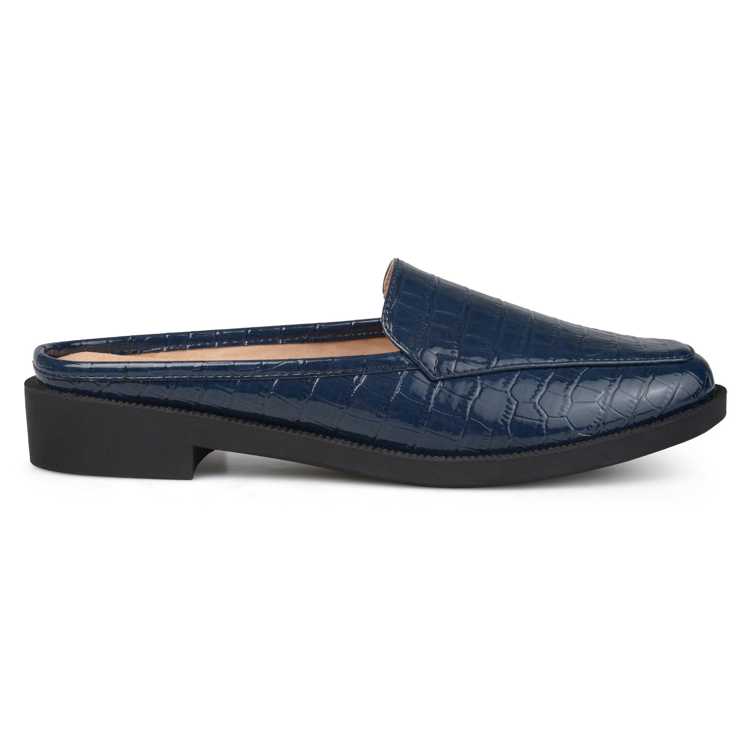 Brinley Co. Womens Jem Faux Patent Square Toe Comfort-Sole Croc Pattern Slide Mules