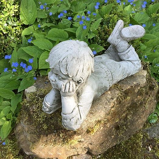 Antikas - Estatua de Piedra Chico - estatuas decoración jardín - Figuras jardín de Piedra Resistente a la Intemperie: Amazon.es: Jardín