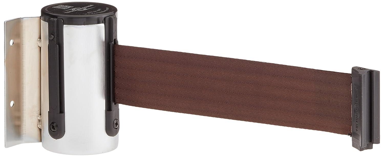 Tensabarrier 896-STD-1S-STD-NO-N7X-C 4.5 Height Satin Chrome Standard Mount Wall Unit with Standard Belt End 2 Wide 3.75 Wide 2.75 Length 76 Length Brown Belt