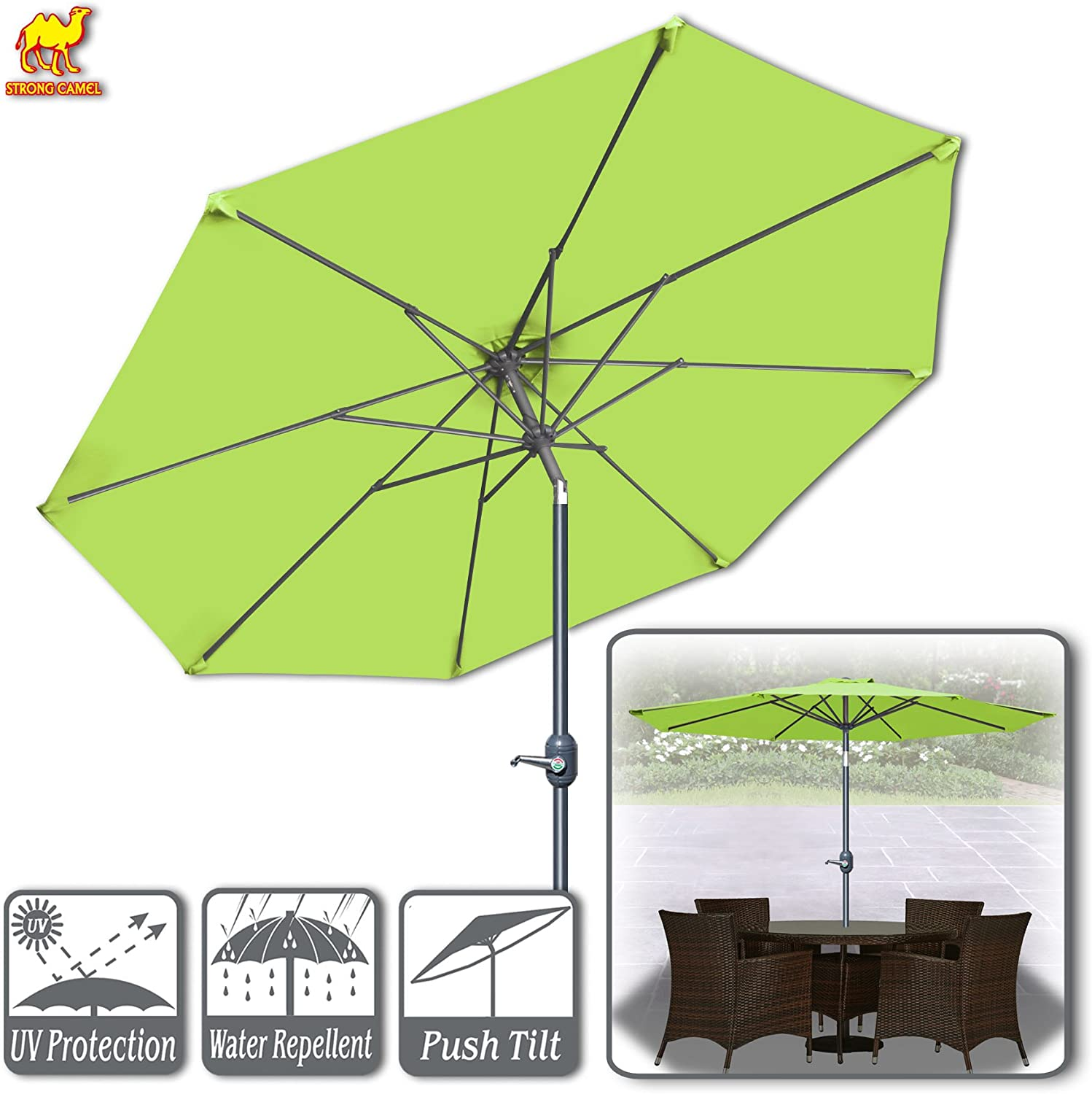 Strong Camel 9ft Patio Umbrella with Tilt and Crank 8 Ribs Outdoor Garden Market Umbrella Sunshade Lemon Green