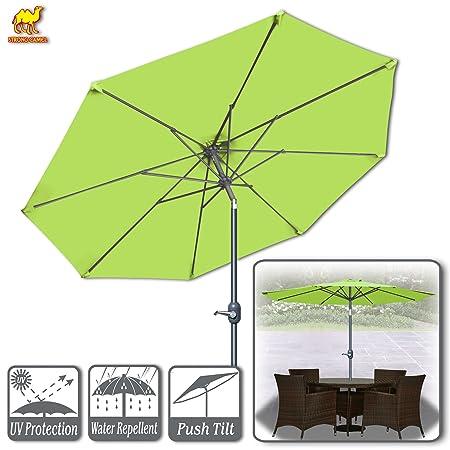 Strong Camel 9ft Patio Umbrella with Tilt and Crank 8 Ribs Outdoor Garden Market Umbrella Sunshade Lemon Green