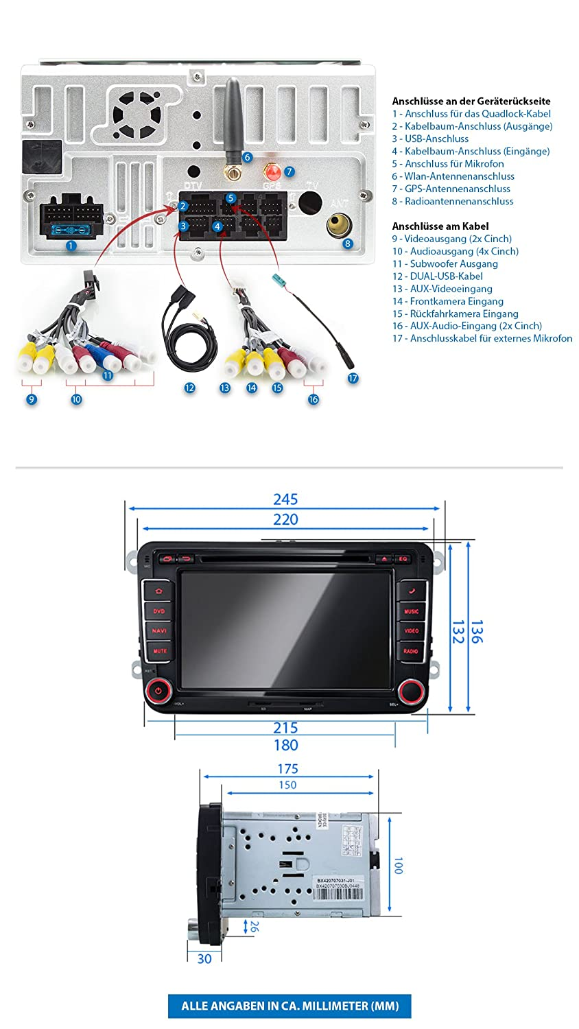 XM-2DA702 Car Radio fitting for VW SEAT SKODA with Android 7.1.1 I ...