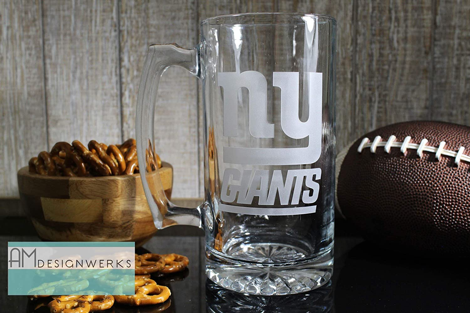New York Giants Jumbo 28.5oz Hand Etched Glass Beer Mug