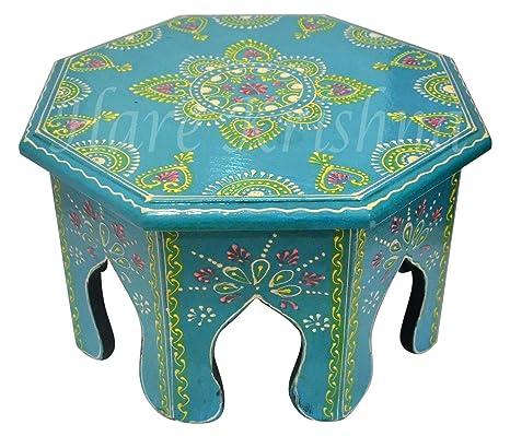 Amazon.com: Mesa auxiliar de madera de color turquesa ...