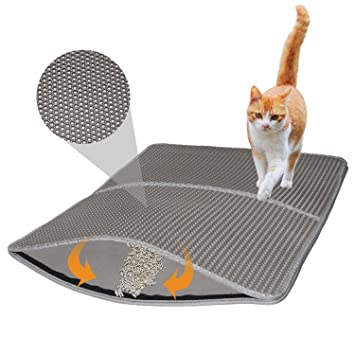 Alfombra para Gatos, Cat Litter Mat by Hongchance, Diseño de Panal Impermeable de Doble Capa Caja ...