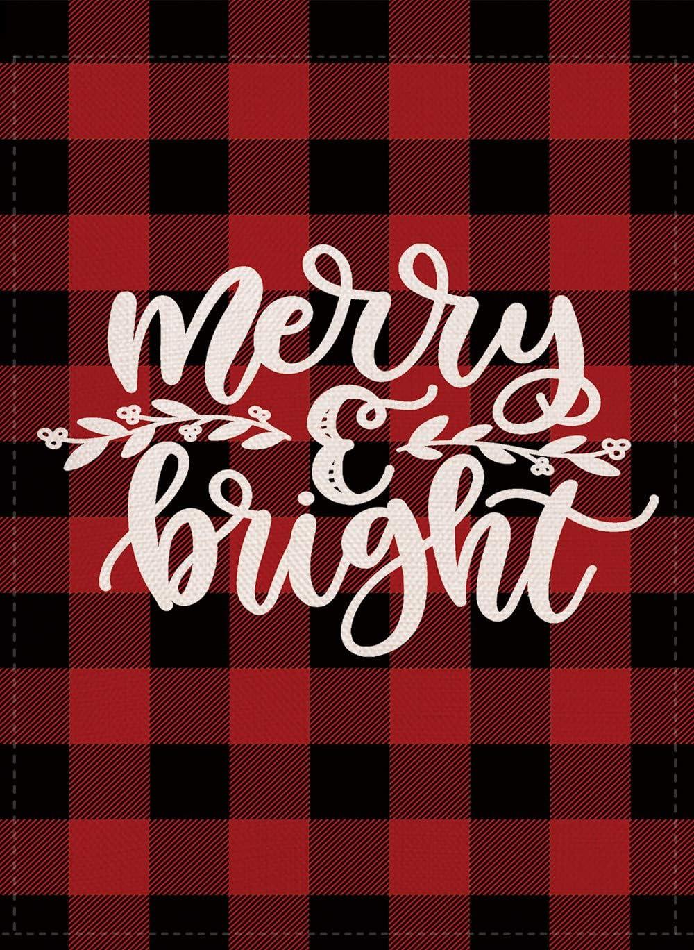 Furiaz Merry & Bright Decorative Christmas Garden Flag, Buffalo Check Plaid Xmas Outdoor Flag Sign Red Black, Rustic Burlap House Yard Flag Winter Outside Decoration Holiday Home Decor Flag 12 x 18