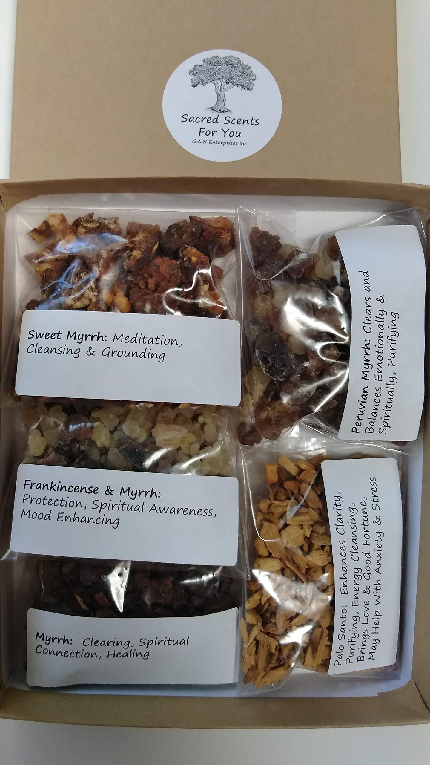Sacred Scents For You Resin Incense Variety Myrrh Sampler Pack-1 oz Myrrh Select-Sweet Myrrh-Peruvian Myrrh-Frankincense & Myrrh with Palo Santo Chips by Sacred Scents For You