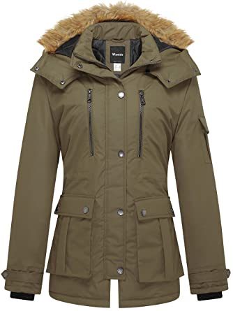 Wantdo Women s Thickened Parka Coat with Removable Fur Hood US Small Army  Green 771ca57bc