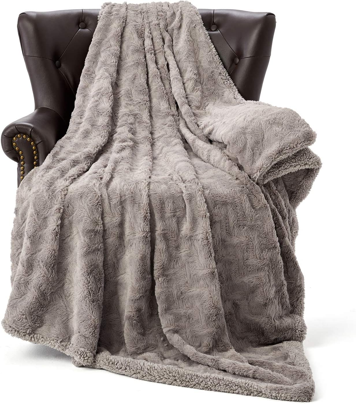HT&PJ Fluffy Faux Fur Throw Blanket Reverse Plush Sherpa Thick Warm Soft for Sofa Bedroom Decor Throw Size Solid (Purple Grey, 50