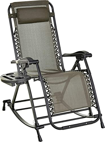 Outsunny Folding Zero Gravity Rocking Lounge Chair with Cup Holder Tray – Grey