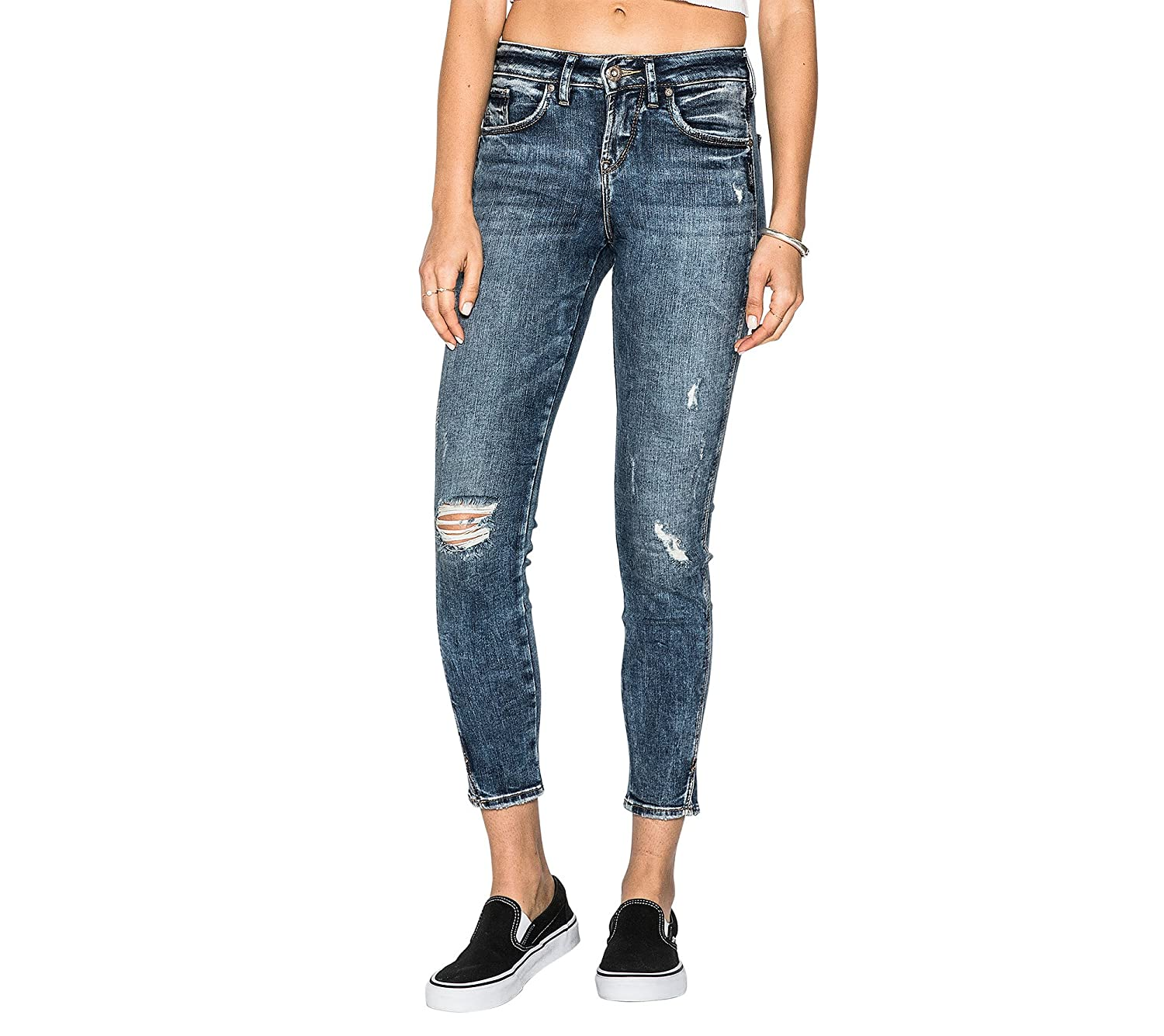 684e7cdddb4b Zipper closure. Machine Wash High-rise skinny jeans with a destroyed medium- dark acid wash. Curvy fit with a relaxed hip and thigh. Super stretch denim  with ...